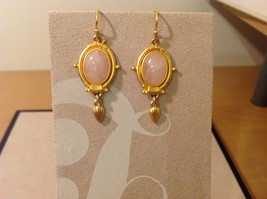 """Vintage Gold tone earrings with light pink - rose stone, 1-1/2"""" long image 2"""