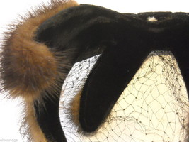 Vintage Ladies' headpiece with velvet and black fur image 2