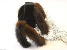 Vintage Ladies' headpiece with velvet and black fur image 5