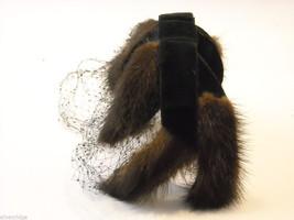 Vintage Ladies' headpiece with velvet and black fur image 4