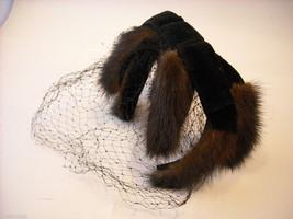 Vintage Ladies' headpiece with velvet and black fur image 7