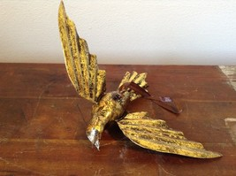Vintage Gold Tone Bird with  Head Turned wings Out Mid Flight Ornament Vagabond image 6