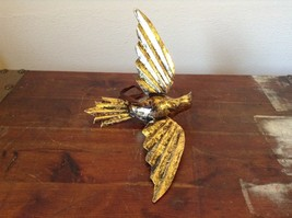 Vintage Gold Tone Bird with  Head Turned wings Out Mid Flight Ornament Vagabond image 3