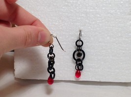 Black Circular Design Red Stone Steam Punk Dangling Earrings Hook is Silver Tone image 3