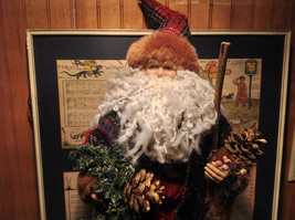 Vintage Look Tall Santa Claus with Plaid Shirt and Hat Doll Figurine Pine Cones image 2