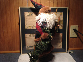 Vintage Look Tall Santa Claus with Plaid Shirt and Hat Doll Figurine Pine Cones image 5