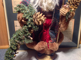 Vintage Look Tall Santa Claus with Plaid Shirt and Hat Doll Figurine Pine Cones image 3