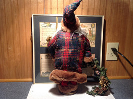 Vintage Look Tall Santa Claus with Plaid Shirt and Hat Doll Figurine Pine Cones image 6