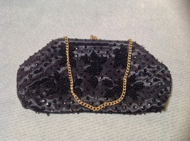 Black Clutch Bag with Beads on Outside Flowers Gold Chain Pocket Section Inside image 3