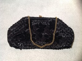 Black Clutch Bag with Beads on Outside Flowers Gold Chain Pocket Section Inside image 2