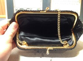 Black Clutch Bag with Beads on Outside Flowers Gold Chain Pocket Section Inside image 6