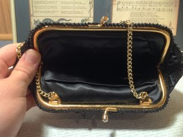 Black Clutch Bag with Beads on Outside Flowers Gold Chain Pocket Section Inside image 7