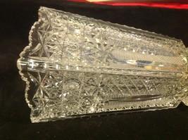 Vintage estate square American Brilliant crystal glass vase image 2