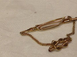 Vintage gold tone Anson tie clip with red stud stones image 3