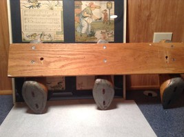 Vintage Wooden Coat Rack Made of 3 Wooden Clogs with Carvings on Clogs image 7