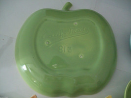 Vintage apple ceramic serving set in green blue yellow made in California image 5