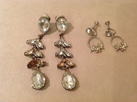Vintage clip on with clear and brown crystals dangling earrings, extra adds on image 2