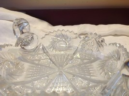 Vintage cut crystal candy dish with handles from estate early 1900s image 4
