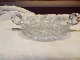 Vintage cut crystal candy dish with handles from estate early 1900s image 3