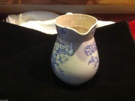 Vintage delicate blue floral patter ceramic white European pitcher image 6