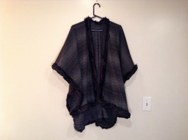 Black Dark Gray Faux Fur Trimmed Wrap Shawl One Size Mad About Style image 8