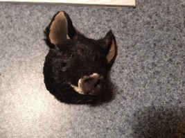 Black Furry Pig Head Magnet Recycled Rabbit Fur by Lifes Attractions image 7