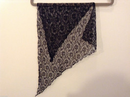 Black Floral Lace Triangle Shaped Scarf image 4
