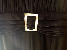 Black Formal Dress Three Quarter Length Sleeves Belt with Buckle Bling Size 10 image 2