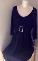 Black Formal Dress Three Quarter Length Sleeves Belt with Buckle Bling Size 10 image 4