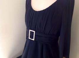 Black Formal Dress Three Quarter Length Sleeves Belt with Buckle Bling Size 10 image 5