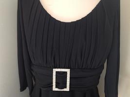 Black Formal Dress Three Quarter Length Sleeves Belt with Buckle Bling Size 10 image 6