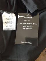 Black Formal Dress Three Quarter Length Sleeves Belt with Buckle Bling Size 10 image 9