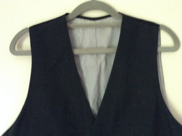 Black Formal Vest with Gray Lining Front Pockets 5 Button Closure V Neck NO TAG image 3