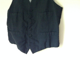 Black Formal Vest with Gray Lining Front Pockets 5 Button Closure V Neck NO TAG image 4