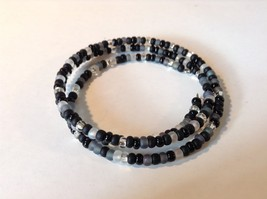 Black Gray Clear Beaded Coil Adjustable Bracelet  image 2