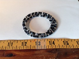 Black Gray Clear Beaded Coil Adjustable Bracelet  image 4