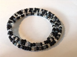 Black Gray Clear Beaded Coil Adjustable Bracelet  image 3