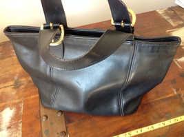 Black Handle Purse Real Leather Handcrafted 2 Inner Pockets Excellent Condition image 3
