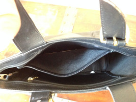 Black Handle Purse Real Leather Handcrafted 2 Inner Pockets Excellent Condition image 5