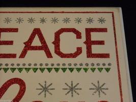 "White Wooden Box Sign ""Peace Love Santa"" in Red Glitter Christmas Decor image 2"