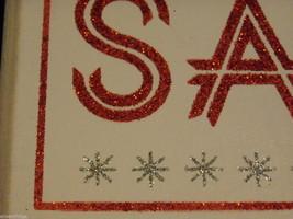 "White Wooden Box Sign ""Peace Love Santa"" in Red Glitter Christmas Decor image 4"
