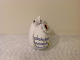 White Piggy Bank Owl New Hearts On Front Light Violet Feathers image 3