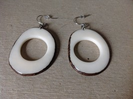 White Round Black Outline Handmade Dyed Tagua Dangling Earrings image 3