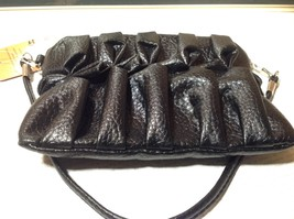 Black Half Bow Clutch Bag with Zipper Closure Mountain Mama Long Shoulder Strap image 2