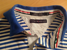 White and Blue Stripes Short Sleeve Tommy Hilfiger Polo Shirt Size XL image 7