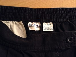 Black IZOD 100 Percent Cotton Casual Shorts Size 10 Partial Elastic Waistband image 6