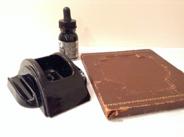 Black Inkwell with Stand and Black Ink Leather Bound Stand Vintage image 2
