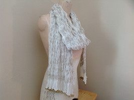 White with Gold Beaded Tassels Indian Style Scrunched Style Scarf Hand Printed image 2