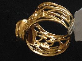Wide Vine Pattern Sterling Silver 14K Gold Plated Garnet Ring Size Choice 7 or 8 image 3