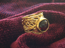 Wide Vine Pattern Sterling Silver 14K Gold Plated Garnet Ring Size Choice 7 or 8 image 4